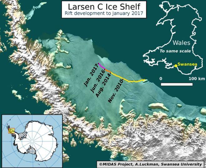 Foto: ADRIAN LUCKMAN Gunung es besar akan melepaskan diri dari kawasan es Larsen C