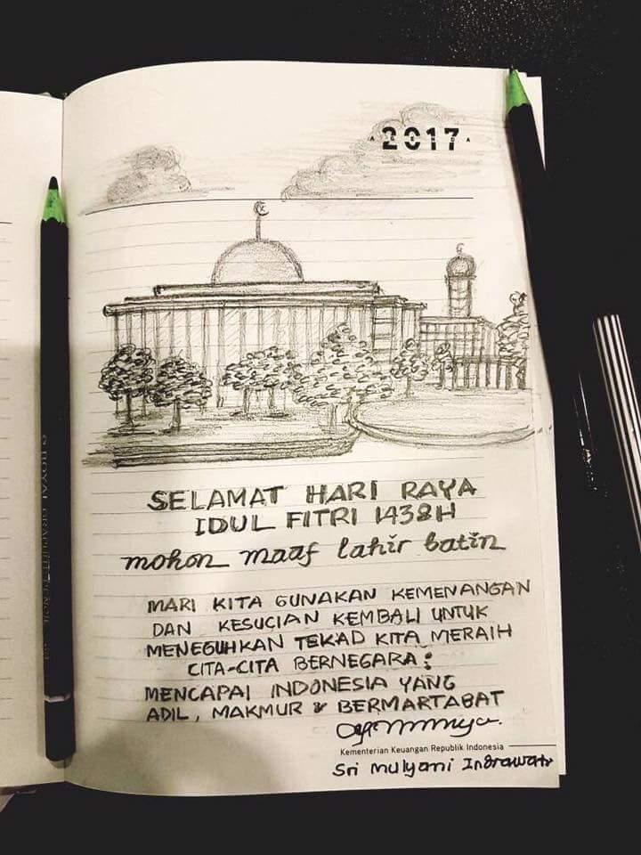 Keren Ini Lukisan Selamat Idul Fitri Karya Tangan Sri Mulyani