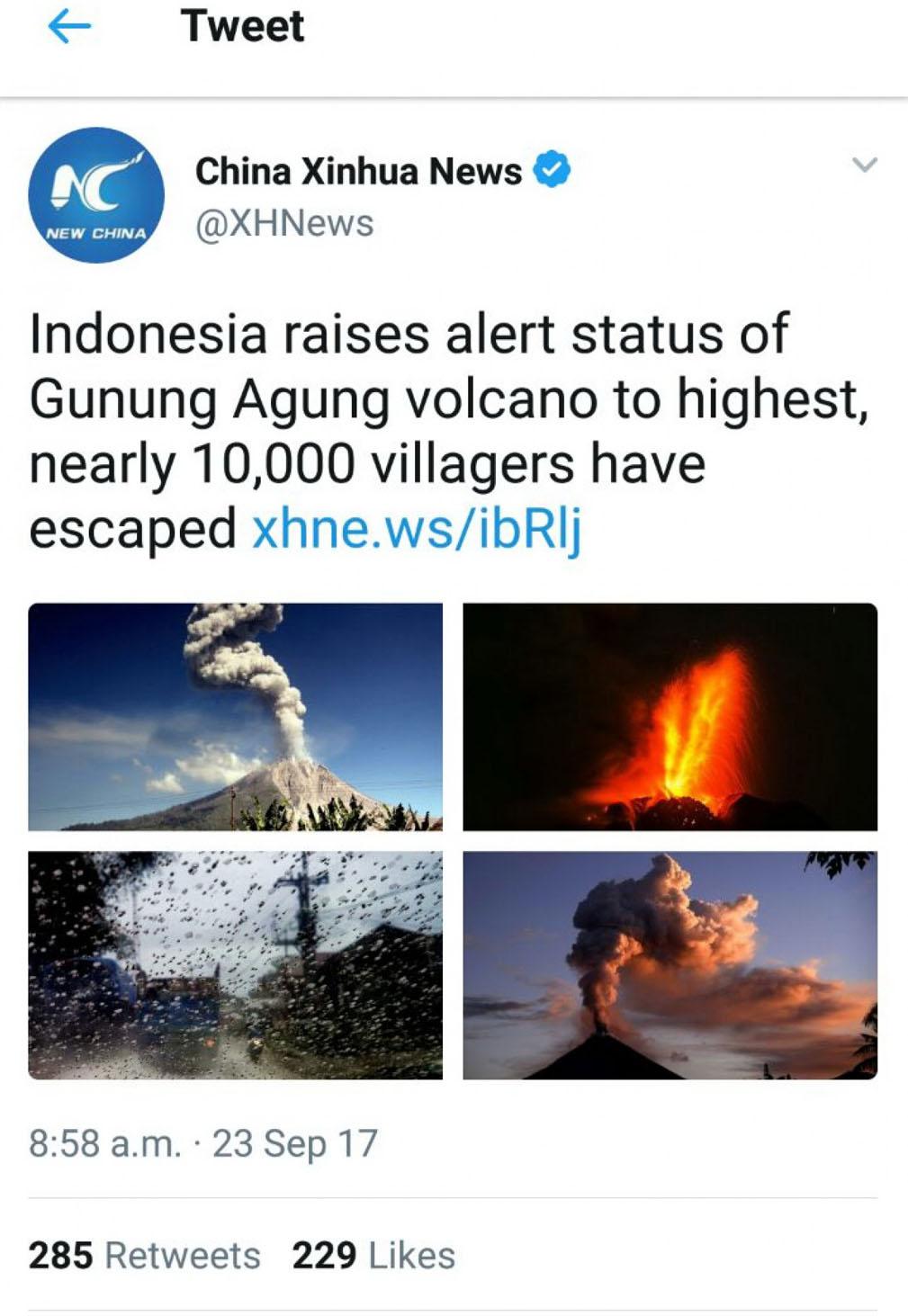 Kabar Gunung Agung Meletus Sampai Ke Tiongkok Sumut Pos
