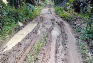 RUSAK : Jalan menuju SMAN 1 STM Hilir, Kecamatan Talun Kenas, Deliserdang, rusak parah sekitar satu kilometer. Kondisi ini diketahui sudah puluhan tahun terjadi tanpa ada perbaikan. ISTimewa/sumu tpos.