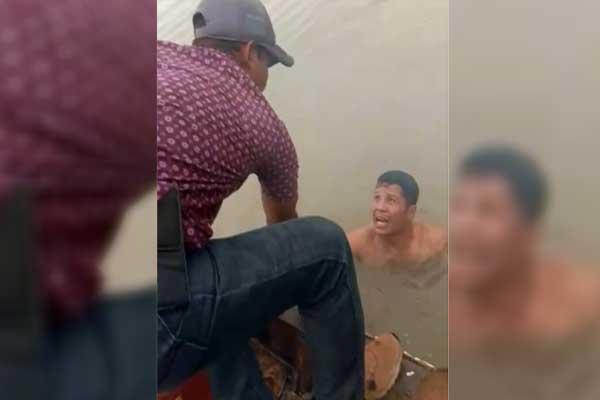 AMANKAN: TNI AL  saat mengamankan pelaku penyelundup 10,75 kg sabu.fachril/sumut pos.