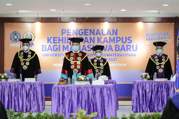 DARING: UMSU  menggelar Pengenalan Kehidupan Kampus Bagi Mahasiswa Baru (PKKMB) tahun 2020 yang diikuti 3.917 mahasiswa baru secara daring, Senin (12/10).