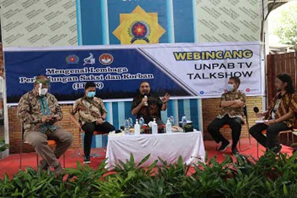Webincang: Suasana Webincang Unpab TV Talkshow bertema Mengenal LPSK di Gelanggang Mahabento, Kampus 1 Unpab Jalan Gatot Subroto Km 4,5 Medan, baru-baru ini.