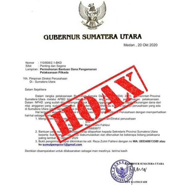 HOAX: Salinan surat mengatasnamakan Gubsu Edy Rahmayadi meminta uang ke perusahaan di Sumut untuk pengamanan Pilkada.