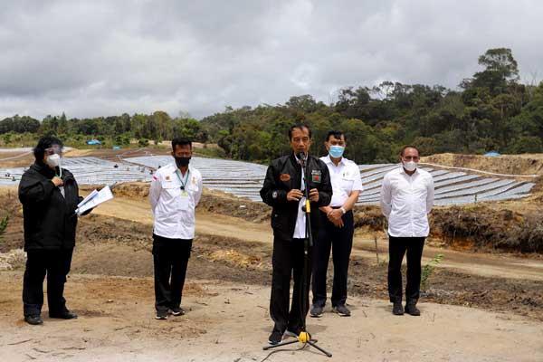 FOOD ESTATE: Presiden RI Joko Widodo didampingi Gubsu Edy Rahmayadi dan sejumlah menteri saat meninjau perkembangan kawasan Food Estate di Desa Siria-ria, Humbahas, Selasa (27/10) lalu.