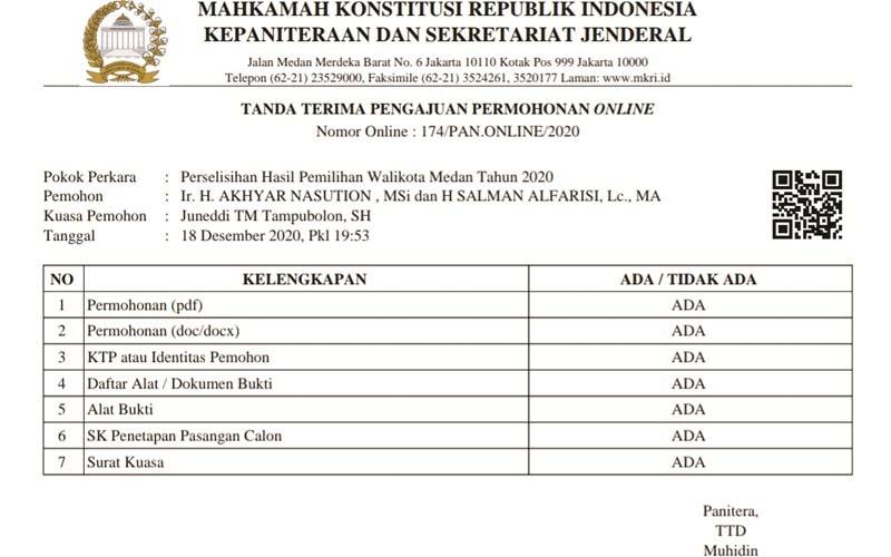 TANDA TERIMA: Formulir tanda terima pengajuan permohonan sengketa Pilkada Medan yang diajukan Tim Akhyar-Salam ke MK.istimewa/sumut pos.