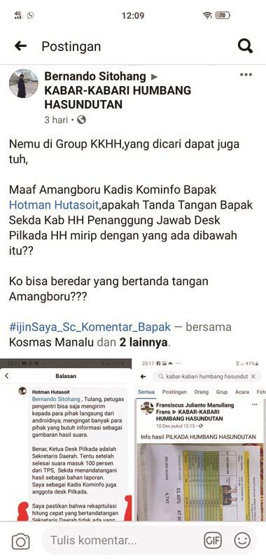 Perolehan Suara versi Desk Pilkada Kabupaten Humbahas beredar dimedia sosial.gamael/sumut pos.