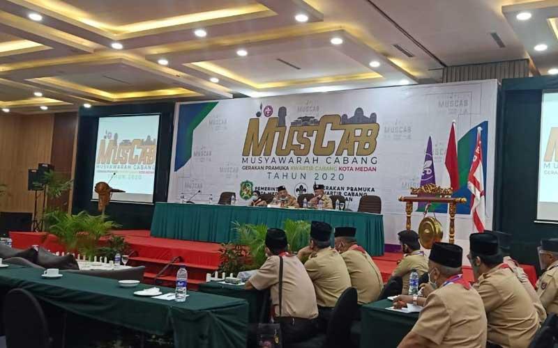 MUSCAB: Suasana Muscab Gerakan Pramuka Kota Medan di Hotel Inna Dharma Deli, Senin (30/11).ma Deli, Senin (30/11). istimewa/sumut pos.