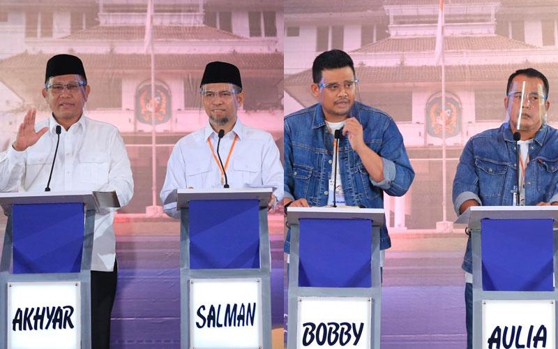 DEBAT: Paslon nomor urut 1 dan 2, saat Debat Kandidat Pilkada Medan 2020 Putaran Terakhir di Hotel Grand Cityhall Medan, Sabtu (5/12) sore.