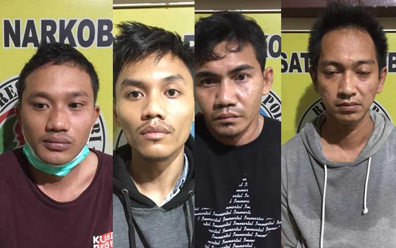 TERSANGKA: Keempat tersangka pengedar sabu dan ekstasi yang ditangkap Polres Binjai, Senin (30/11).
